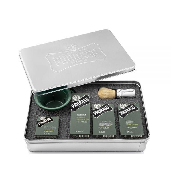 Rasur-Geschenkbox 6-teilig aus Metall von Proraso.
