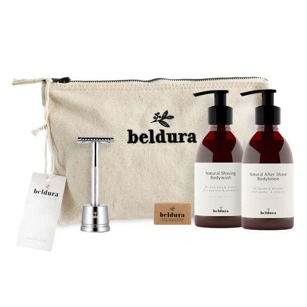 Beldura Shaving-Set 5-teilig Silber Set